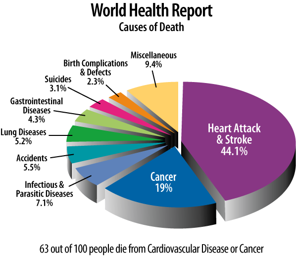 World Health Report pie chart showing that the vast majority of deaths worldwide are due to heart attacks and strokes.